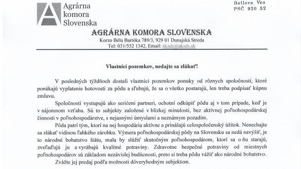 Oznam Agrárnej komory Slovenska