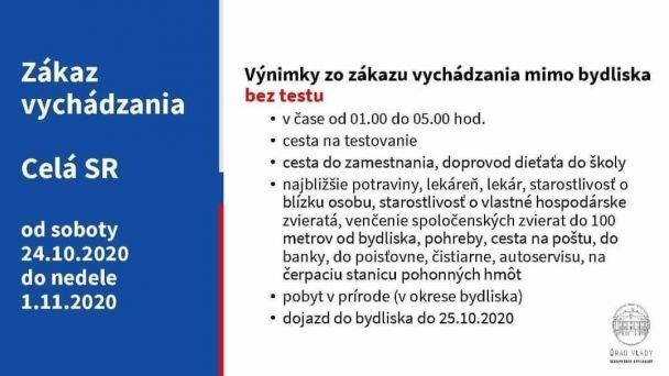 Zákaz vychádzania pre celé Slovensko