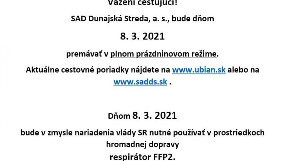 OZNAM SAD Dunajská Streda a.s. - od 08.03.2021-prázdninový režim